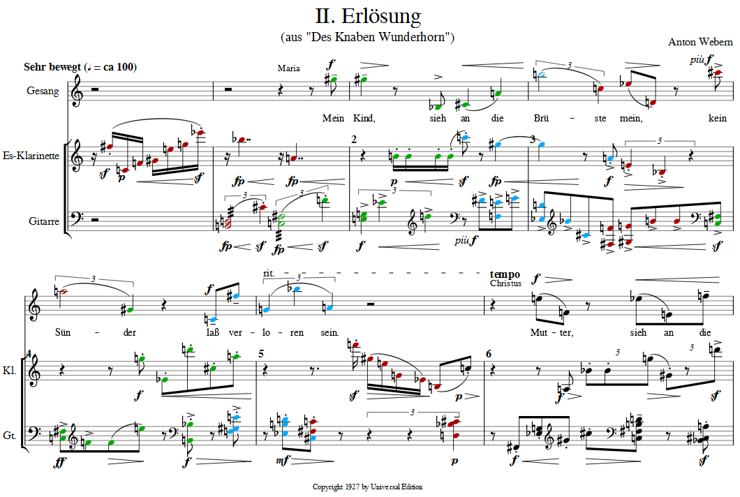 Bars 1 to 6 of Webern's Erlösung